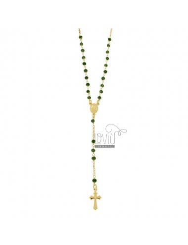 Rosary necklace with green...