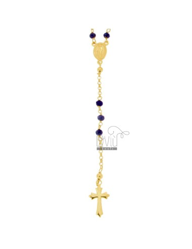 ROSARY NECKLACE WITH STONES BLUE FACETED IN SILVER GOLDEN TIT 925 CM 58