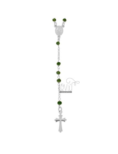 ROSARY NECKLACE WITH GREEN STONES faceted SILVER RHODIUM TIT 925 CM 58