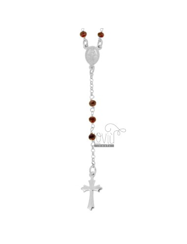 ROSARY NECKLACE WITH RED STONES FACETED IN SILVER RHODIUM TIT 925 CM 58