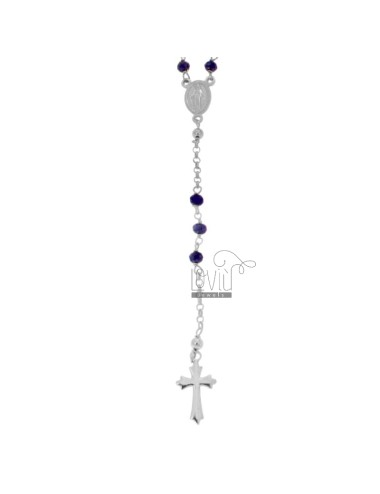 ROSARY NECKLACE WITH STONES BLUE FACETED IN SILVER RHODIUM TIT 925 CM 58
