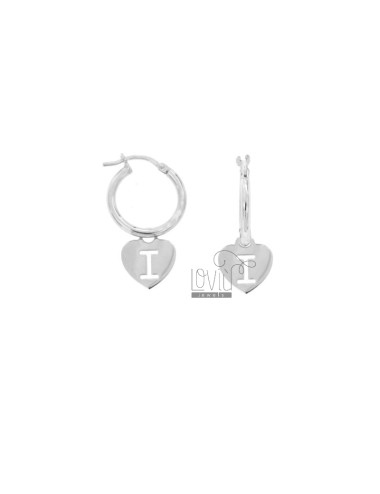 EARRINGS A CIRCLE DIAMETER 12 MM WITH HEART PENDANT 13X11 MM AND LETTER I I PERFORATED IN SILVER RHODIUM TIT 925