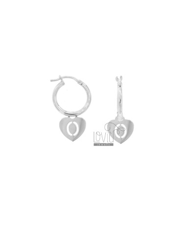 EARRINGS A CIRCLE DIAMETER 12 MM WITH HEART PENDANT 13X11 MM AND LETTER OR PERFORATED IN SILVER RHODIUM TIT 925