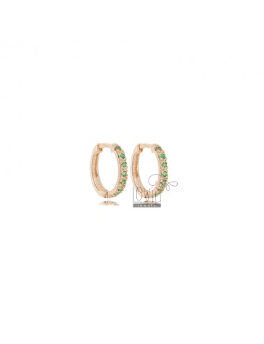 EARRINGS IN CIRCLE SHOULD DIAMETER 10 MM THICKNESS 2 MM SILVER ROSE TIT 925 AND ZIRCONIA GREEN