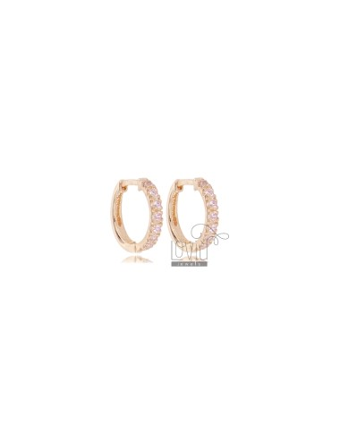 EARRINGS IN CIRCLE SHOULD DIAMETER 10 MM THICKNESS 2 MM SILVER ROSE TIT 925 AND PINK ZIRCONIA