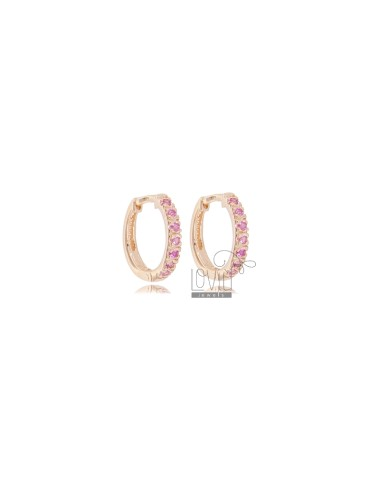 EARRINGS IN CIRCLE SHOULD DIAMETER 10 MM THICKNESS 2 MM SILVER ROSE TIT 925 AND ZIRCONIA FUCHSIA