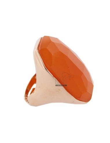 RECTANGULAR RING WITH NATURAL STONE ORANGE SILVER ROSE TIT 925 SIZE ADJUSTABLE
