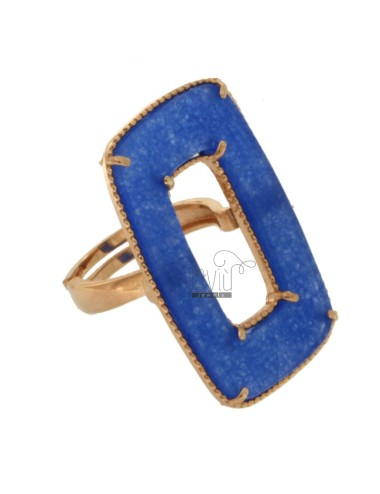 RECTANGLE RING IN SILVER ROSE TIT 925 AND DURA BLUE STONE ADJUSTABLE SIZE