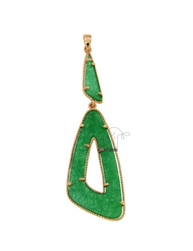 PENDANT DOUBLE TRIANGLE SILVER ROSE TIT 925 AND STONE GREEN HARD