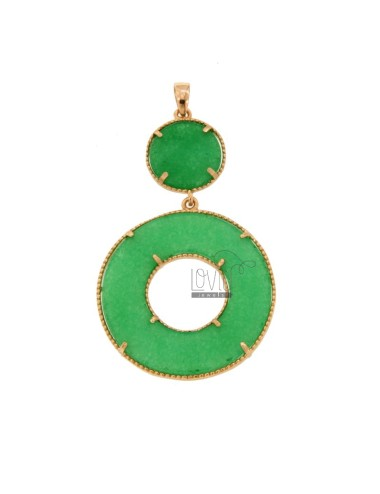 PENDANT DOUBLE ROUND SILVER ROSE TIT 925 AND STONE GREEN HARD