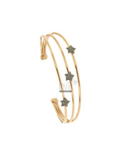 RIGID BRACELET WITH 3 CENTRAL STARS IN SILVER ROSE TIT 925 ‰ AND SMALTO GRIGIO GLITTER