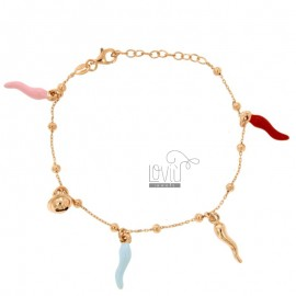 ALTERNATE CABLE BRACELET WITH BALLS AND HORNS AND CHELL PENDANT SILVER ROSE TIT 925 AND ENAMEL CM 17-20