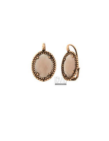 OVAL MONACHELLA EARRINGS WITH MICROSPHERES IN ANTIQUE SILVER ROSE TIT 925 AND PINK HYDROTHERMAL STONES