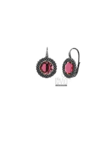 ROUND NECKLACE EARRINGS WITH MICROSPHERES IN SILVER RHODIUM TIT 925 AND FUCSIA HYDROTHERMAL STONES
