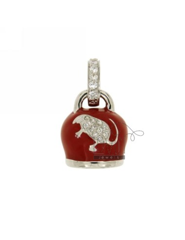 20X16 MM cowbell PENDANT WITH ENAMEL RED AND WHITE IN ZIRCONIA COATINGS WITH RHODIUM AG TIT 925