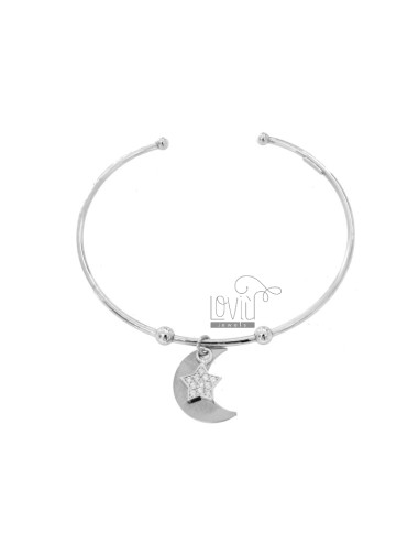 RIGID BRACELET WITH MOON AND STAR PENDANT IN SILVER RHODIUM TIT 925 AND ZIRCONIA