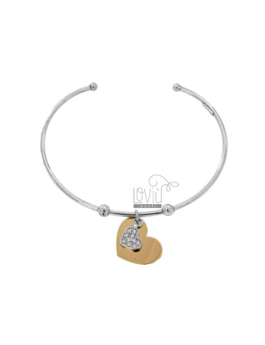 RIGID BRACELET WITH DOUBLE HEART PENDANT IN SILVER RHODIUM AND ROSE TIT 925 AND ZIRCONIA