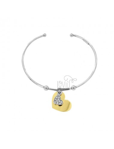 RIGID BRACELET WITH DOUBLE HEART PENDANT IN SILVER RHODIUM AND GOLDEN TIT 925 AND ZIRCONIA