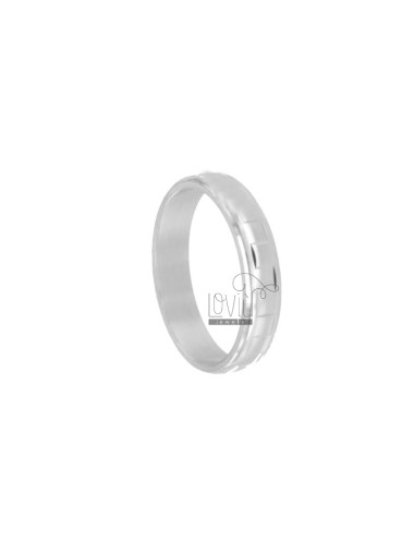 DIAMOND BAND RING WITH SQUARE PLATE 4.5 MM SILVER RHODIUM TIT 925 SIZE 24