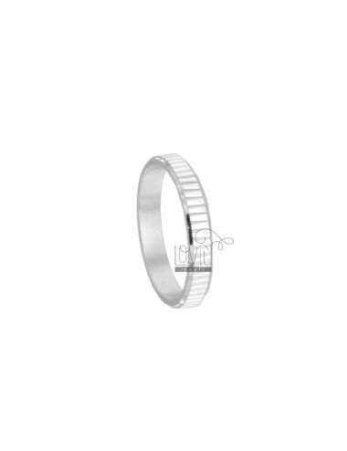 DIAMOND STRIP RING WITH STRIPED PLATE 3.7 MM SILVER RHODIUM TIT 925 SIZE 12