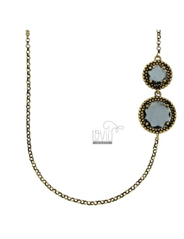 LOLO ROLO 'WITH ROUNDS WITH ALTERNATE MICROSPHERES IN SILVER ANCIENT GOLDEN TIT 925 AND HYDROTHERMAL STONES BLUE 90 CM