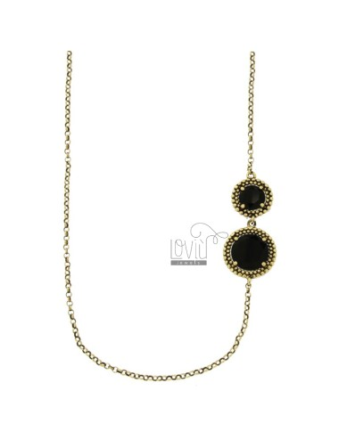 LOLO ROLO 'WITH ROUNDS WITH MICRO BALLS ALTERNATED IN SILVER ANTIQUE GOLDEN TIT 925 AND BLACK HYDROTHERMAL STONES CM 90
