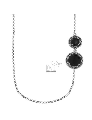 LOLO ROLO 'WITH ROUNDS WITH ALTERNATE MICROSPHERES IN SILVER RHODIUM SILVER TIT 925 AND BLACK HYDROTHERMAL STONES CM 90