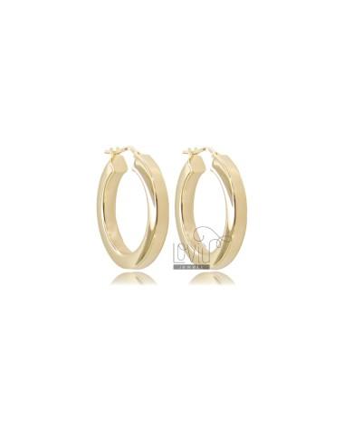 HOOP EARRINGS DIAMETER 20 SQUARE BARREL 4.5X4.5 MM SILVER GOLDEN TIT 925