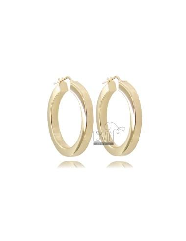 HOOP EARRINGS DIAMETER 25 SQUARE BARREL 4.5X4.5 MM SILVER GOLDEN TIT 925