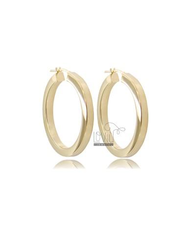 HOOP EARRINGS DIAMETER 30 SQUARE BARREL 4.5X4.5 MM SILVER GOLDEN TIT 925