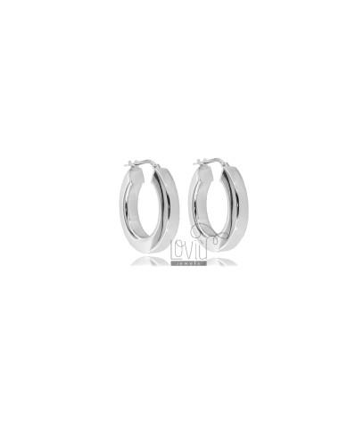 HOOP EARRINGS DIAMETER 15 SQUARE BARREL 4.5X4.5 MM IN RHODIUM-PLATED SILVER TIT 925