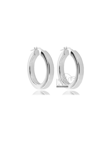 HOOP EARRINGS DIAMETER 20 SQUARE BARREL 4.5X4.5 MM IN RHODIUM-PLATED SILVER TIT 925