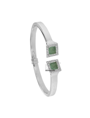 RIGID BRACELET RECTANGULAR MM 6 MM SILVER RHODIUM TIT 925 WITH FINAL SQUARE WITH HYDROTHERMAL STONES AND ZIRCONIA