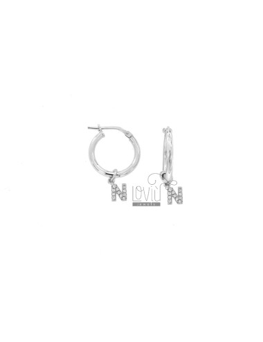 EARRINGS A CIRCLE DIAMETER 12 MM WITH LETTER N ZIRCONATE PENDANT IN SILVER RHODIUM TIT 925