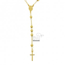 ROSARY NECKLACE WITH SMOOTH BALL FROM MM 5 CM 60 SILVER GOLDEN 925 ‰
