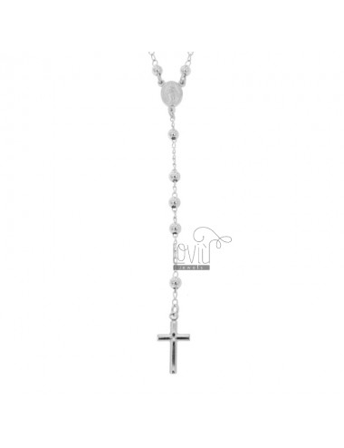 ROSARY NECKLACE WITH SMOOTH BALL OF 4 CM MM 45 SILVER RHODIUM 925 ‰
