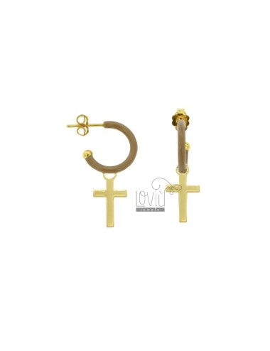 EARRINGS IN CIRCLE DIAM 12 WITH CROSS PENDANT IN SILVER GOLDEN TIT 925 AND ENAMEL