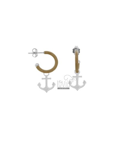 EARRINGS IN CIRCLE DIAM 12 WITH ANCHOR PENDANT IN SILVER RHODIUM TIT 925 AND ENAMEL