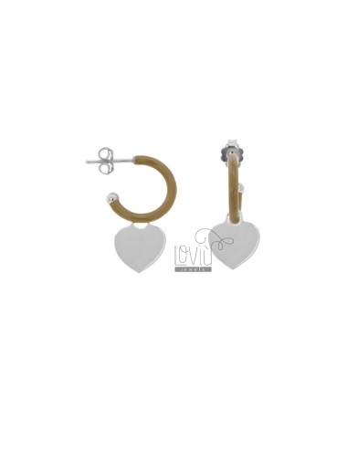 EARRINGS IN CIRCLE DIAM 12 WITH HEART PENDANT IN SILVER RHODIUM TIT 925 AND ENAMEL
