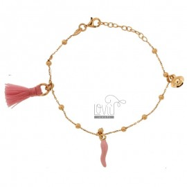 CABLE BRACELET WITH HORN, NAPPINE AND CHARM PENDANT SILVER ROSE TIT 925 AND ENAMEL CM 17-20