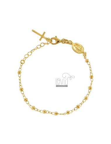 ROSARY BRACELET WITH SMOOTH BALL OF 3 MM CM 16-20 IN SILVER GOLDEN 925 ‰