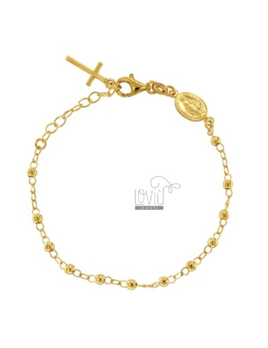 ROSARY BRACELET WITH SMOOTH BALL FROM 4 MM 4 CM 16-20 IN SILVER GOLDEN 925 ‰