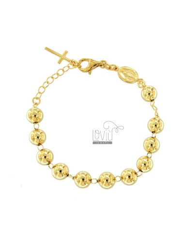 ROSARY BRACELET WITH SMOOTH BALL FROM MM 8 CM 16-20 IN SILVER GOLDEN 925 ‰