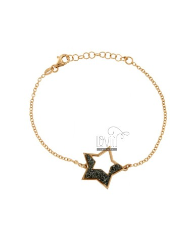 BRACELET CABLE WITH STAR SHAPED SILVER ROSE TIT 925 AND GLITTER GRAY CM 17-19