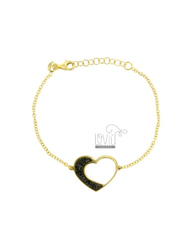 BRACELET CABLE WITH SHAPED HEART IN SILVER GOLDEN TIT 925 AND GLITTER GRAY CM 17-19