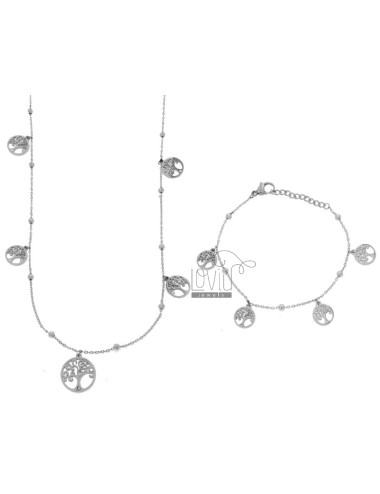 NECKLACE CM 80 AND BRACELET CM 18 CABLE WITH ALTERNATE SPHERES AND TREES OF LIFE PENDANTS IN BRONZE RHODIUM AND COPPER CM 90