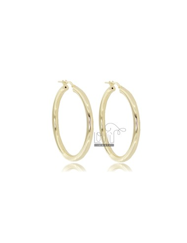 EARRINGS A CIRCLE 37 MM A ROUND ROD MM 3 SILVER GOLDEN TIT 925 ‰
