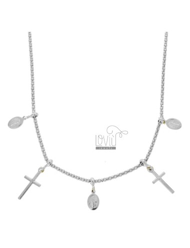 POP CORN NECKLACE WITH MADONNINE AND CROSS PENDANTS IN SILVER RHODIUM TIT 925 CM 45