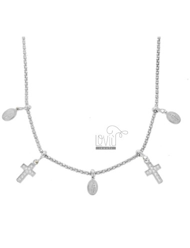 POP CORN NECKLACE WITH MADONNINE AND CROSS PENDANTS IN SILVER RHODIUM TIT 925 AND ZIRCONIA CM 45