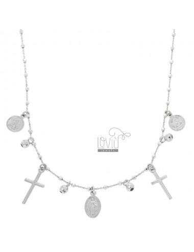 NECKLACE CABLE WITH BALLS, CROSSES, ANGELS AND MADONNINA PENDANTS IN SILVER RHODIUM TIT 925 CM 45